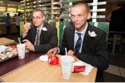 Pics of people getting married in McDonalds
