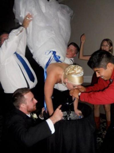 Bride goes upside down