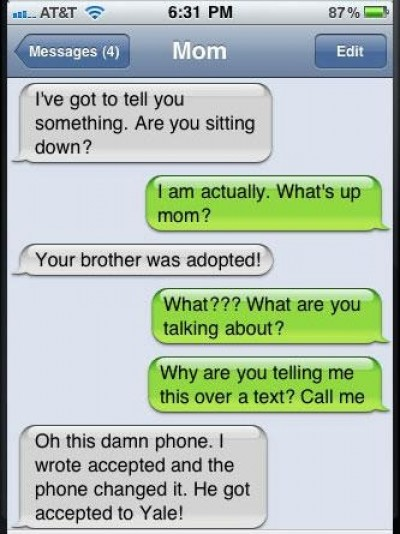 Son, your brother was adopted...