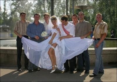 Show up your legs bride...